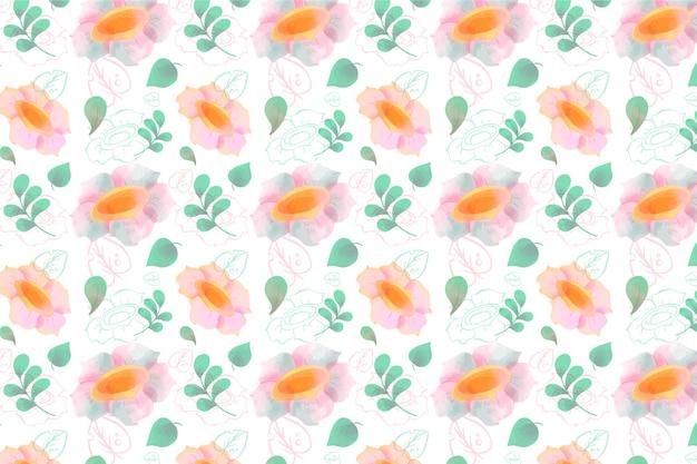 Waterverf bloemenbehang met zachte kleuren