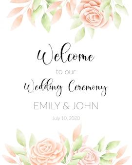Waterverf bloemenframe, huwelijkskaart.