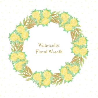 Waterverf bloemenframe met gele bloemen
