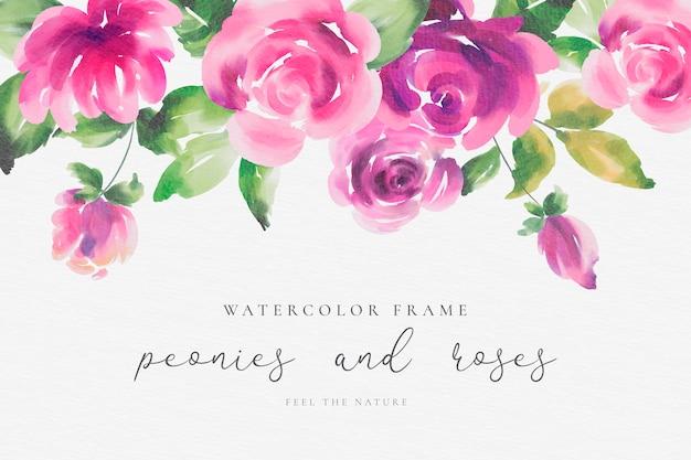 Waterverf bloemenframe met pioenen en rozen