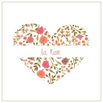 Waterverf bloemenhart in een romantische stijl.