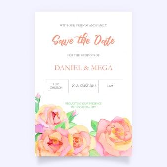 Waterverf bloemenhuwelijksuitnodiging