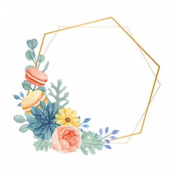 Waterverf bloemenkader met bladeren van de makarons, van rose, daisy, succulent en dusty miller