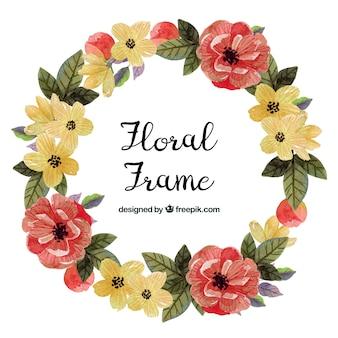 Waterverf bloemenkader met kleurrijke stijl