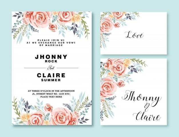 Waterverf bloemenkader voor huwelijksuitnodiging en multidoel