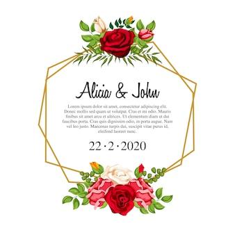 Waterverf bloemenkader voor huwelijksuitnodiging