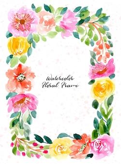 Waterverf bloemenkader