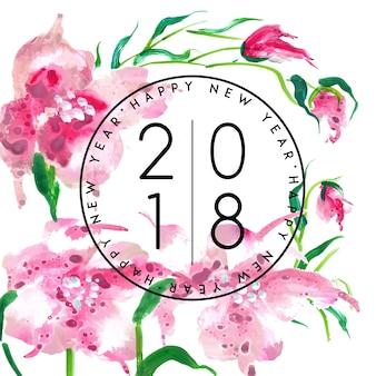 Waterverf bloemennieuwjaar 2018