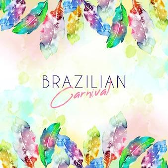 Waterverf braziliaanse carnaval-veren met exemplaarruimte