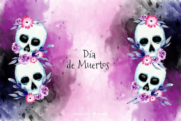 Waterverf dia de muertos met bloemenschedelsachtergrond