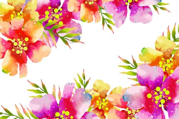 Waterverf exotische kleurrijke bloemenachtergrond