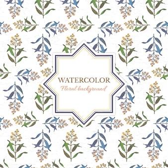 Waterverf floral achtergrond met frame