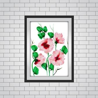 Waterverf floral frame mockup