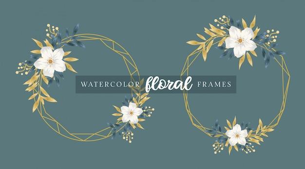 Waterverf gouden bloemenframes
