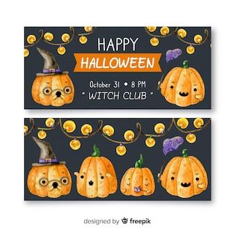 Waterverf halloween banners met pompoenen