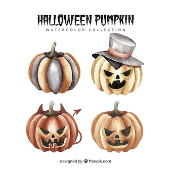Waterverf halloween pompoenen set