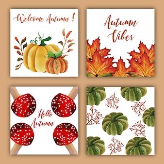 Waterverf herfstkaarten met rode, oranje, gele en groene bladeren
