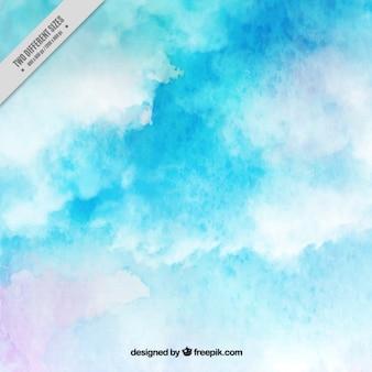 Waterverf het blauwe achtergrond met wolken