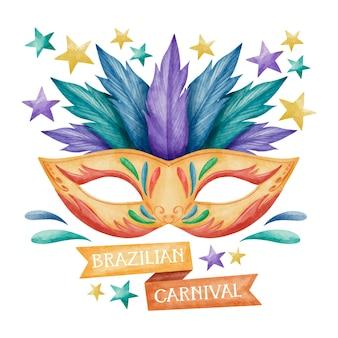 Waterverf het braziliaanse carnaval masker met blauwe en paarse veren