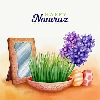 Waterverf het gelukkige nowruz-dagconcept