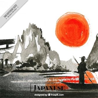 Waterverf het japanse landschap in een zonsondergang op de achtergrond