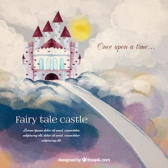 Waterverf het kasteel in de lucht