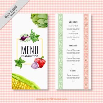 Waterverf het menu van het restaurant