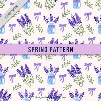 Waterverf het patroon van lavendel met bogen