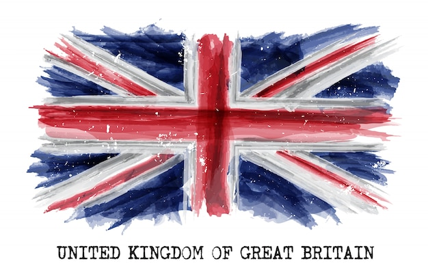 Waterverf het schilderen vlag van het verenigd koninkrijk Premium Vector