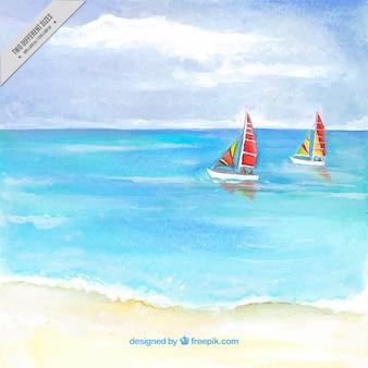 Waterverf het strand achtergrond met twee boten