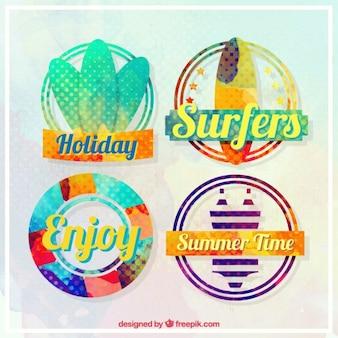 Waterverf het vakanties met surfen badges