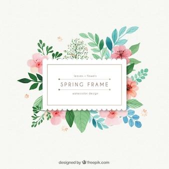 Waterverf het voorjaar frame met bladeren en bloemen