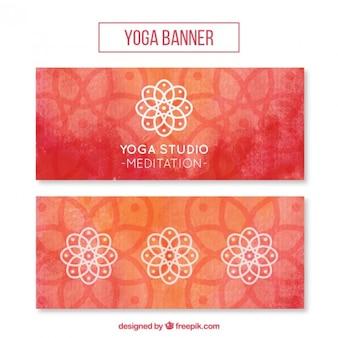Waterverf het yoga banners met sier symbolen