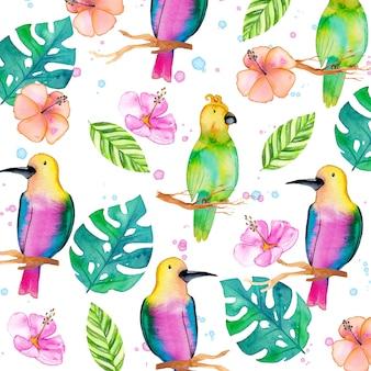 Waterverf kleurrijke achtergrond met papegaaien en bladeren