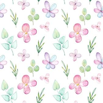 Waterverf naadloos patroon met bloemen en bladeren
