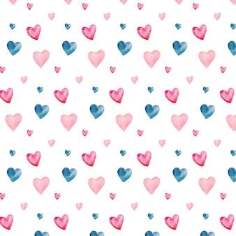 Waterverf naadloos patroon met de harten van de valentijnskaart