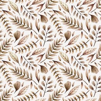 Waterverf naadloos patroon met diverse bladeren en installaties.