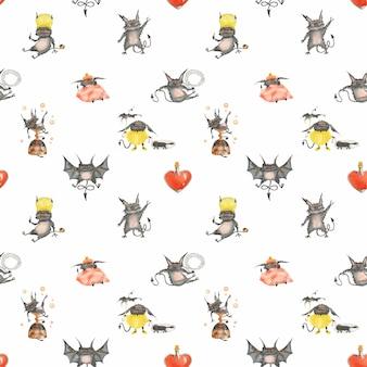 Waterverf naadloos patroon met grappige kleine duivels en glashart