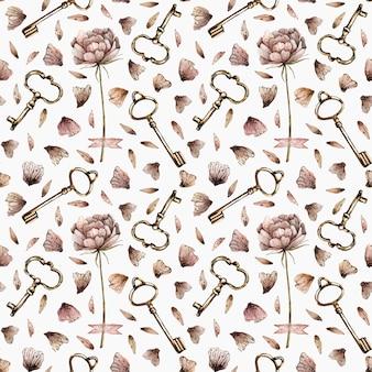Waterverf naadloos patroon met pioenen, bloemblaadjes en sleutels in uitstekende stijl.