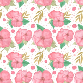 Waterverf naadloos patroon met schitterende roze bloem