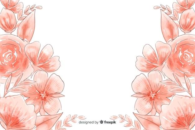 Waterverf natuurlijke achtergrond met bloemen