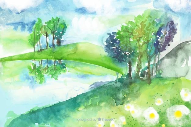 Waterverf natuurlijke achtergrond met landschap