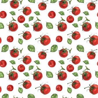Waterverf realistisch voedselpatroon met tomaten en basilicum