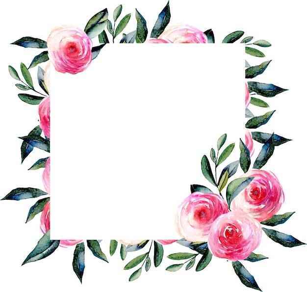Waterverf rode rozen en groen bladeren vierkant kader