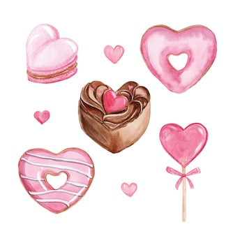 Waterverf roze hartvormige zoete desserts set geïsoleerd op een witte achtergrond. valentijnsdag set. hand getrokken cake, cupcake, donuts, lolly, macarons
