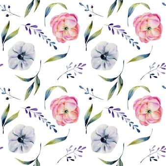 Waterverf roze pioenen en wit anemonen naadloos patroon