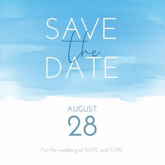Waterverf sparen de datumuitnodiging