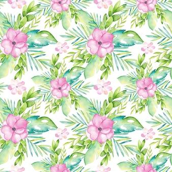 Waterverf tropisch naadloos patroon met bloemen en bladeren