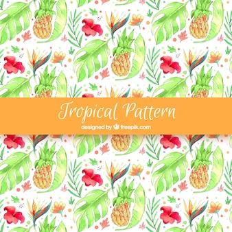 Waterverf tropisch patroon met mooie stijl