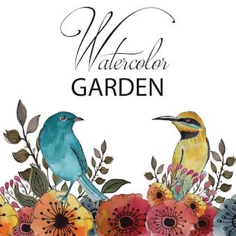 Waterverf tuin met bloemen en vogels